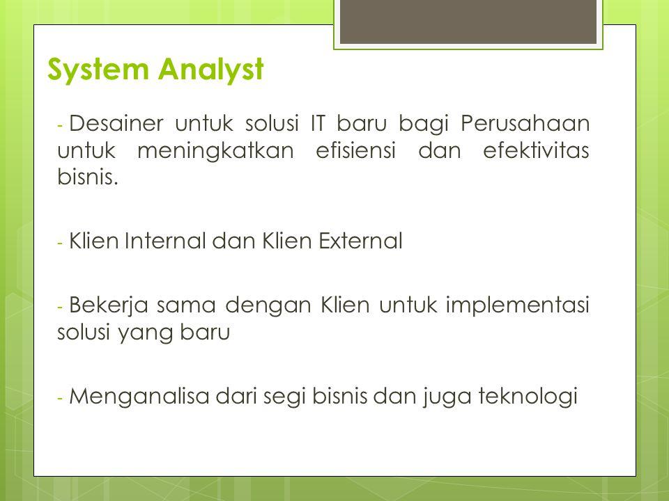 System Analyst - Desainer untuk solusi IT baru bagi Perusahaan untuk meningkatkan efisiensi dan efektivitas bisnis.
