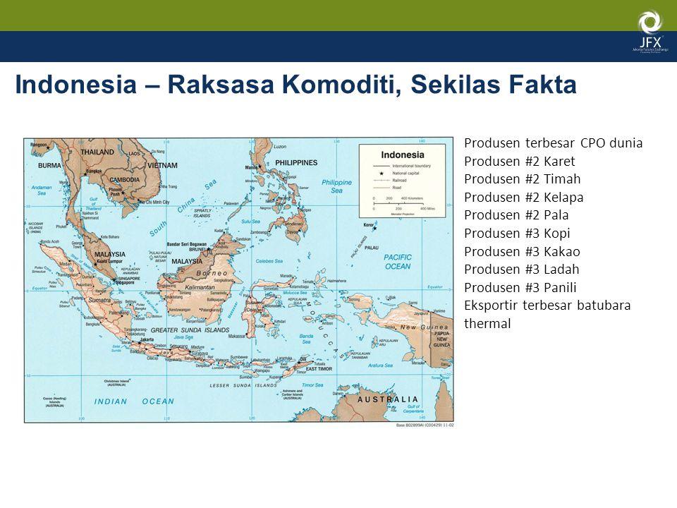 Indonesia – Raksasa Komoditi, Sekilas Fakta Produsen terbesar CPO dunia Produsen #2 Karet Produsen #2 Timah Produsen #2 Kelapa Produsen #2 Pala Produsen #3 Kopi Produsen #3 Kakao Produsen #3 Ladah Produsen #3 Panili Eksportir terbesar batubara thermal