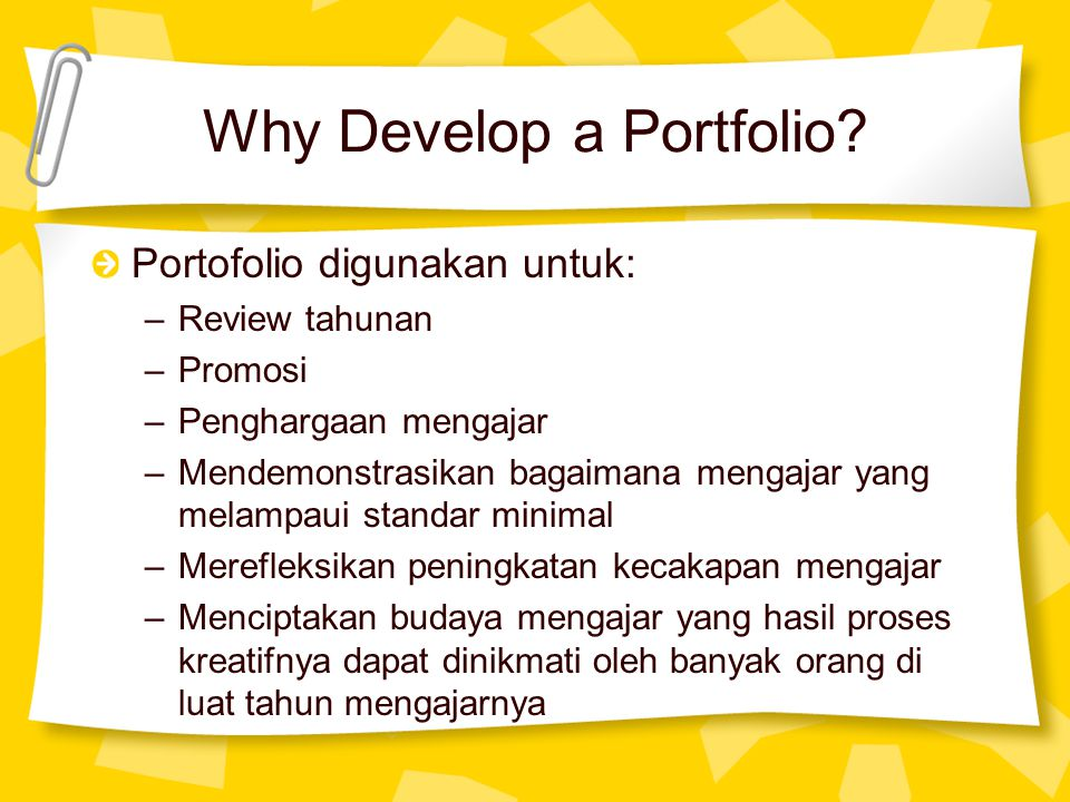 Why Develop a Portfolio.