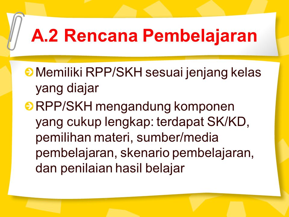 A.2 Rencana Pembelajaran Memiliki RPP/SKH sesuai jenjang kelas yang diajar RPP/SKH mengandung komponen yang cukup lengkap: terdapat SK/KD, pemilihan m