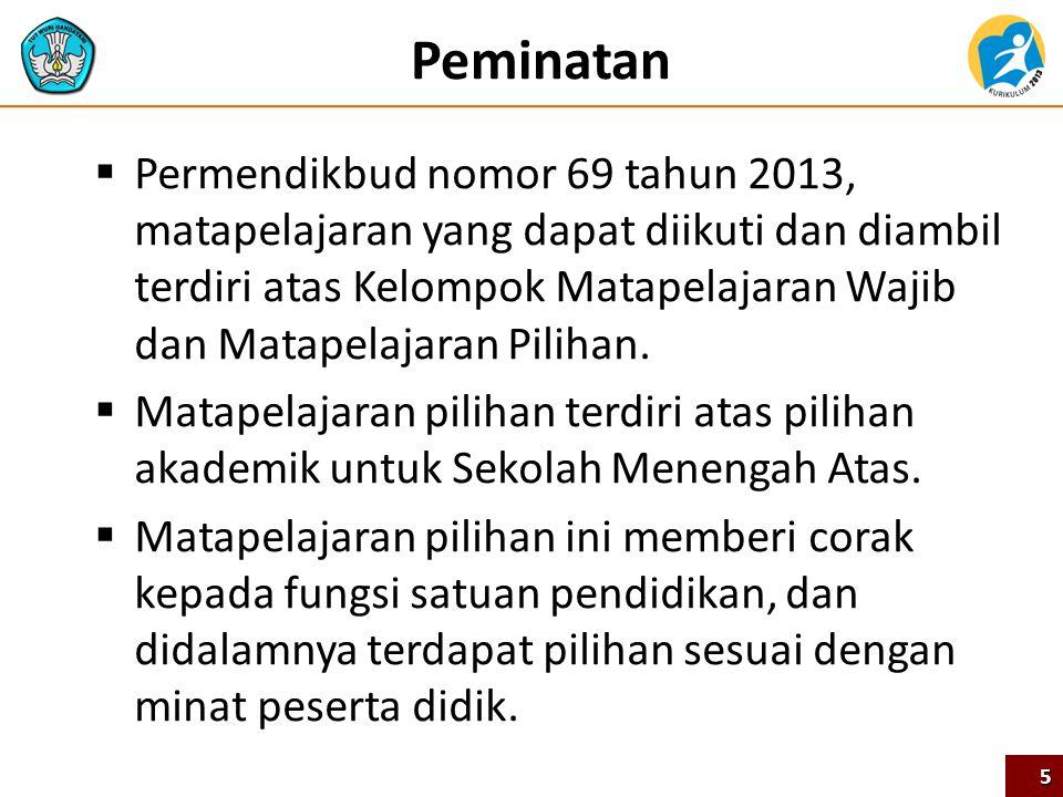 Peminatan  Permendikbud nomor 69 tahun 2013, matapelajaran yang dapat diikuti dan diambil terdiri atas Kelompok Matapelajaran Wajib dan Matapelajaran