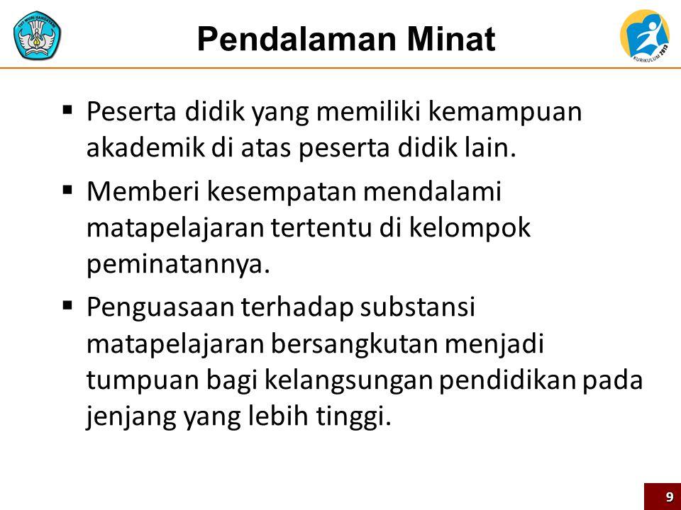 Konsep Peminatan, Lintas Minat, dan Pendalaman Minat  Kebijakan penting dalam Kurikulum 2013, memberi kesempatan kepada peserta didik untuk memilih kelompok matapelajaran (peminatan) yang diminati.