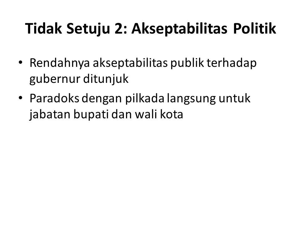 Tidak Setuju 2: Akseptabilitas Politik Rendahnya akseptabilitas publik terhadap gubernur ditunjuk Paradoks dengan pilkada langsung untuk jabatan bupati dan wali kota