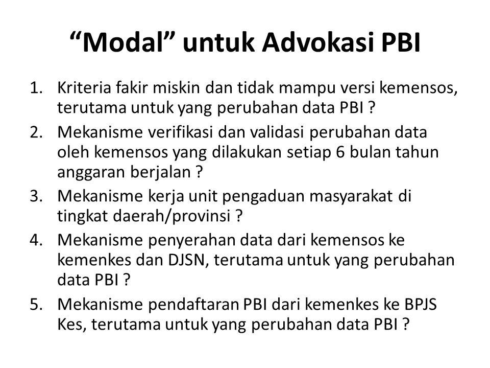 Modal untuk Advokasi PBI 1.Kriteria fakir miskin dan tidak mampu versi kemensos, terutama untuk yang perubahan data PBI .