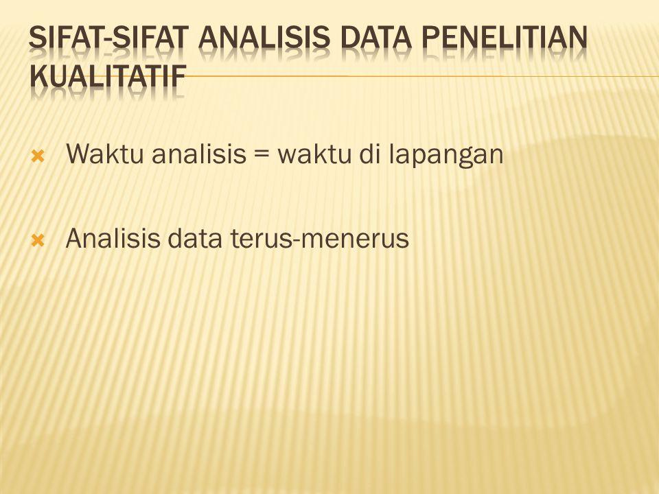  Waktu analisis = waktu di lapangan  Analisis data terus-menerus