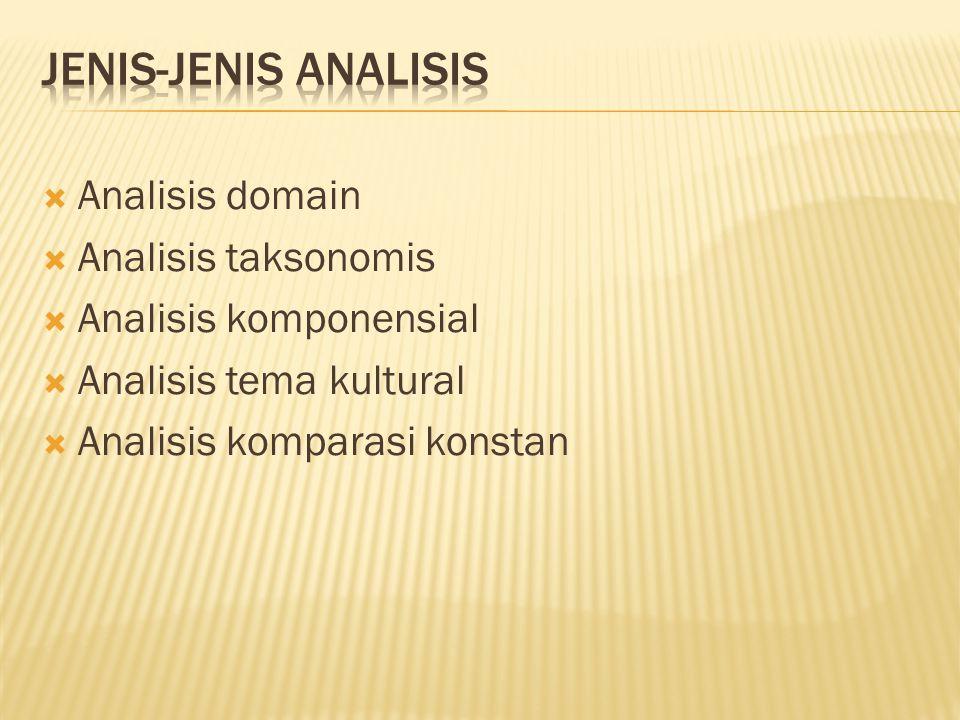  Analisis domain  Analisis taksonomis  Analisis komponensial  Analisis tema kultural  Analisis komparasi konstan