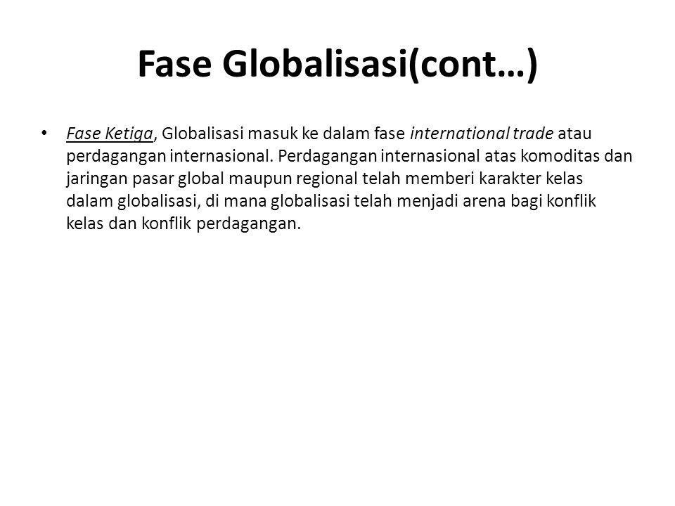 Fase Globalisasi(cont…) Fase Ketiga, Globalisasi masuk ke dalam fase international trade atau perdagangan internasional.