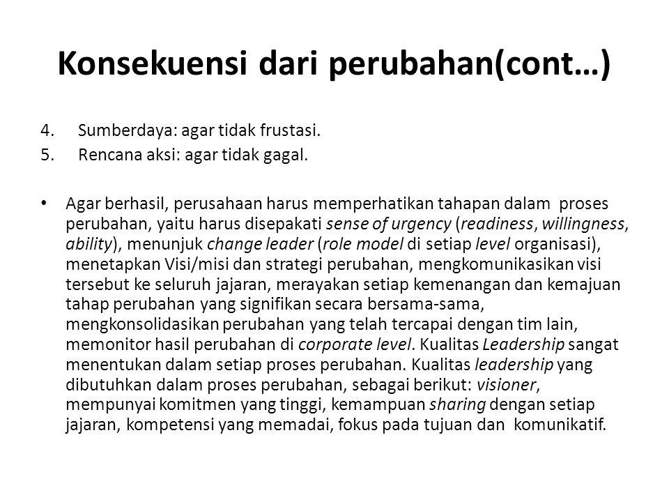 Konsekuensi dari perubahan(cont…) 4.Sumberdaya: agar tidak frustasi.