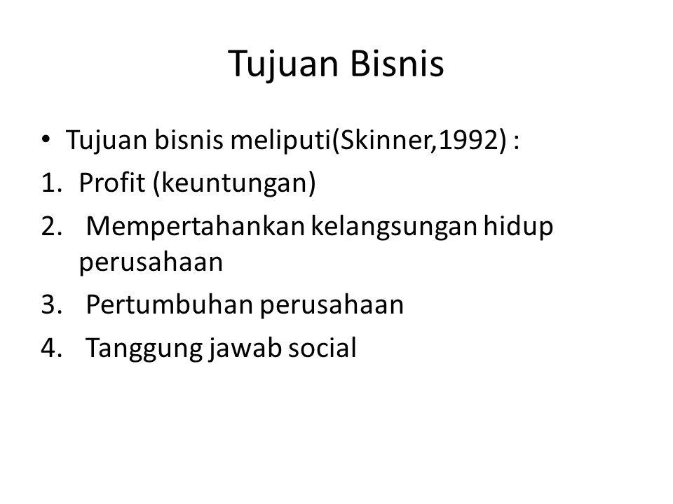 Tujuan Bisnis Tujuan bisnis meliputi(Skinner,1992) : 1.Profit (keuntungan) 2.