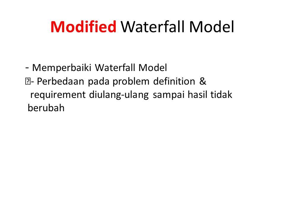 """Modified Waterfall Model - Memperbaiki Waterfall Model """"- Perbedaan pada problem definition & requirement diulang-ulang sampai hasil tidak berubah"""