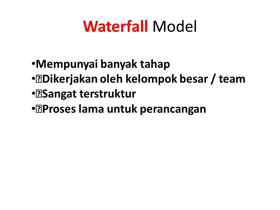 """Waterfall Model Mempunyai banyak tahap """"Dikerjakan oleh kelompok besar / team """"Sangat terstruktur """"Proses lama untuk perancangan"""