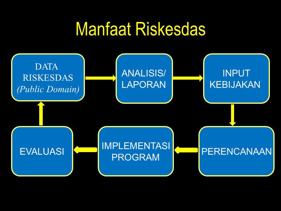 Manfaat Riskesdas DATA RISKESDAS (Public Domain) ANALISIS/ LAPORAN INPUT KEBIJAKAN PERENCANAAN IMPLEMENTASI PROGRAM EVALUASI
