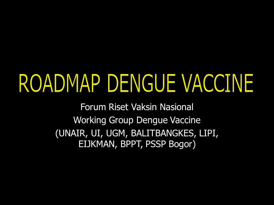 Forum Riset Vaksin Nasional Working Group Dengue Vaccine (UNAIR, UI, UGM, BALITBANGKES, LIPI, EIJKMAN, BPPT, PSSP Bogor)