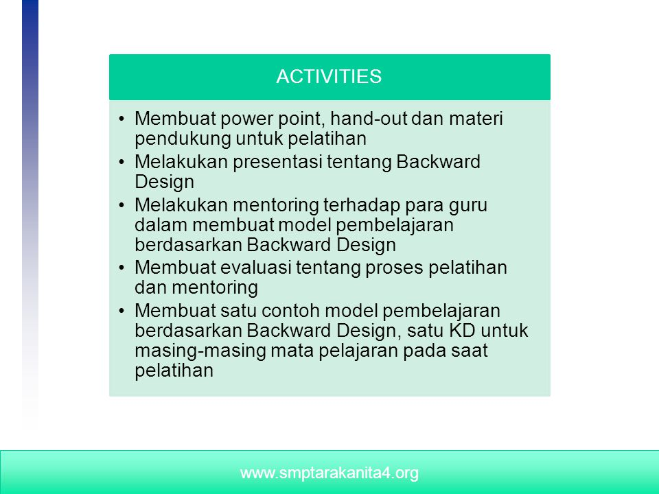 University of Wisconsin - Extension, Cooperative Extension, Program Development and Evaluation www.smptarakanita4.org ACTIVITIES Membuat power point,