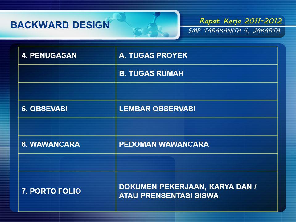 BACKWARD DESIGN 4.PENUGASANA. TUGAS PROYEK B. TUGAS RUMAH 5.