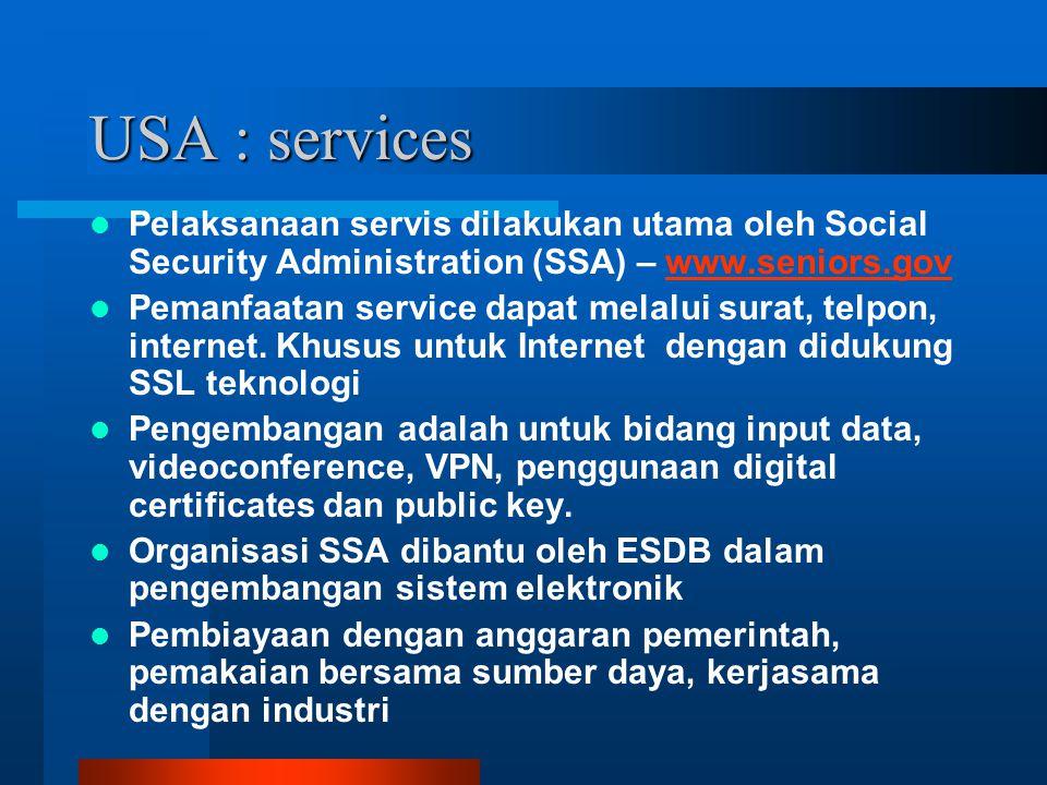 USA : services Pelaksanaan servis dilakukan utama oleh Social Security Administration (SSA) – www.seniors.govwww.seniors.gov Pemanfaatan service dapat melalui surat, telpon, internet.
