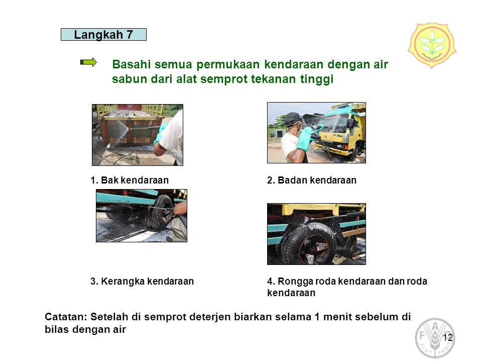 12 Langkah 7 Basahi semua permukaan kendaraan dengan air sabun dari alat semprot tekanan tinggi 1. Bak kendaraan2. Badan kendaraan 3. Kerangka kendara