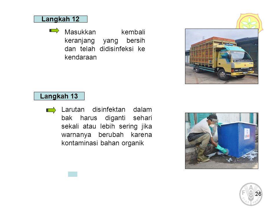 26 Langkah 12 Masukkan kembali keranjang yang bersih dan telah didisinfeksi ke kendaraan Langkah 13 Larutan disinfektan dalam bak harus diganti sehari