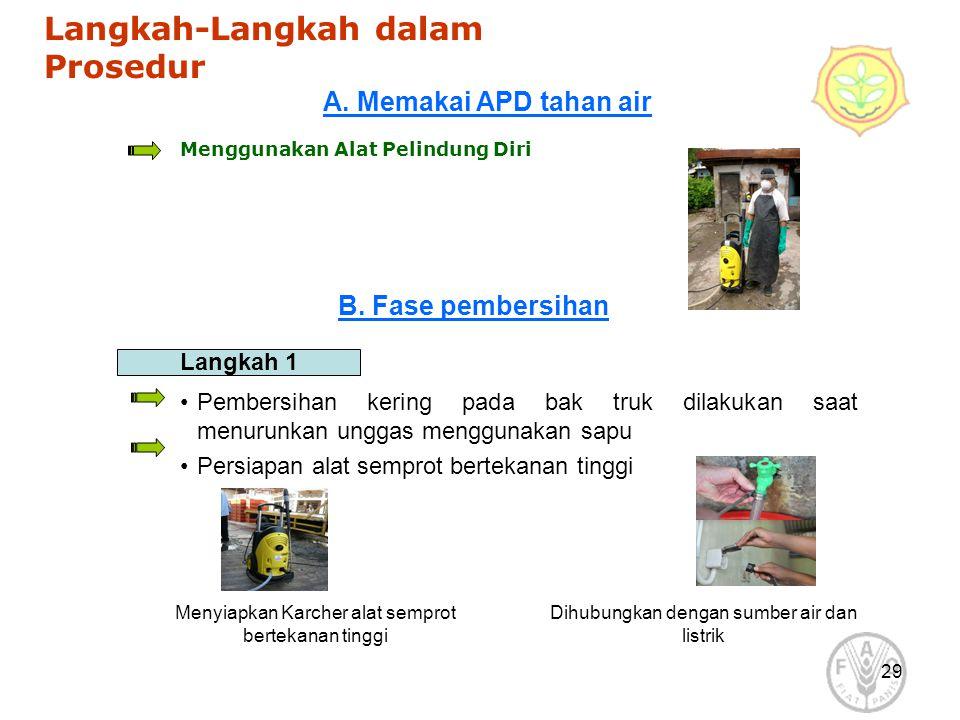 29 Langkah-Langkah dalam Prosedur Menggunakan Alat Pelindung Diri Langkah 1 Pembersihan kering pada bak truk dilakukan saat menurunkan unggas mengguna