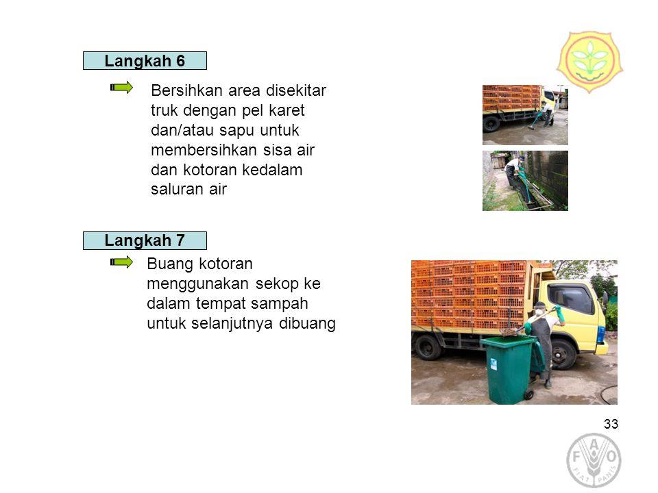 33 Langkah 6 Buang kotoran menggunakan sekop ke dalam tempat sampah untuk selanjutnya dibuang Bersihkan area disekitar truk dengan pel karet dan/atau