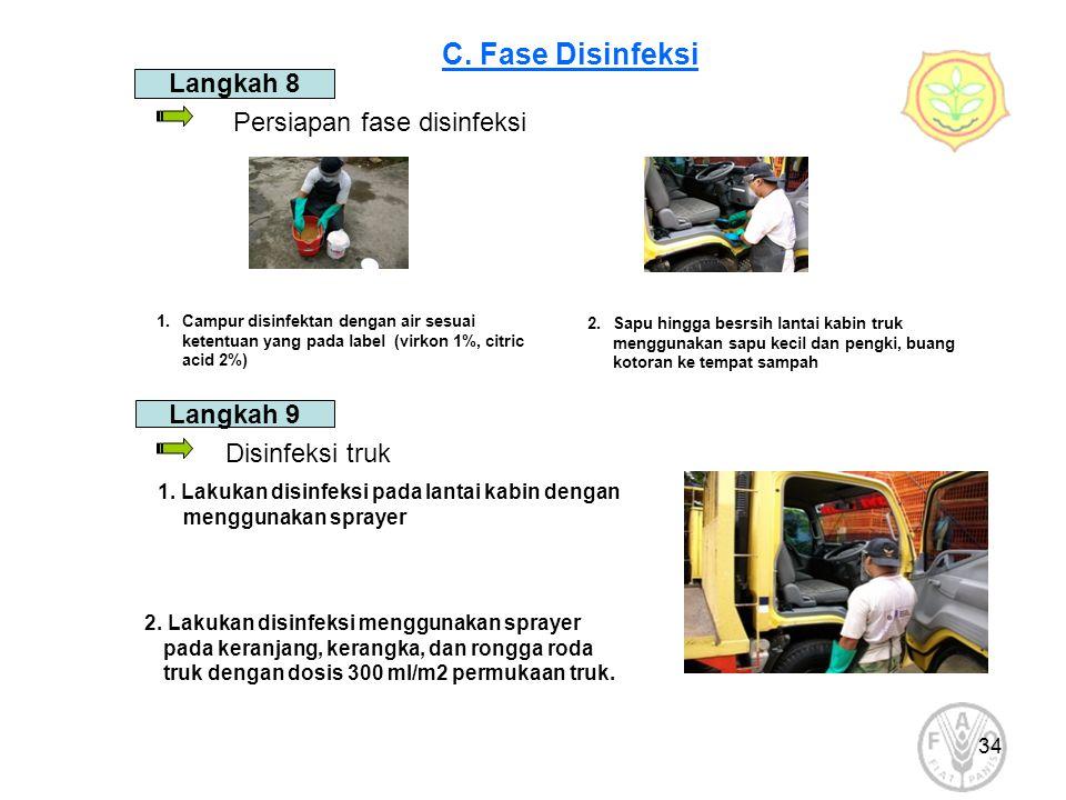 34 2.Sapu hingga besrsih lantai kabin truk menggunakan sapu kecil dan pengki, buang kotoran ke tempat sampah Persiapan fase disinfeksi 1.Campur disinf