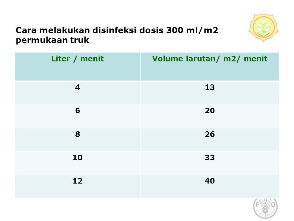 Cara melakukan disinfeksi dosis 300 ml/m2 permukaan truk Liter / menitVolume larutan/ m2/ menit 413 620 826 1033 1240