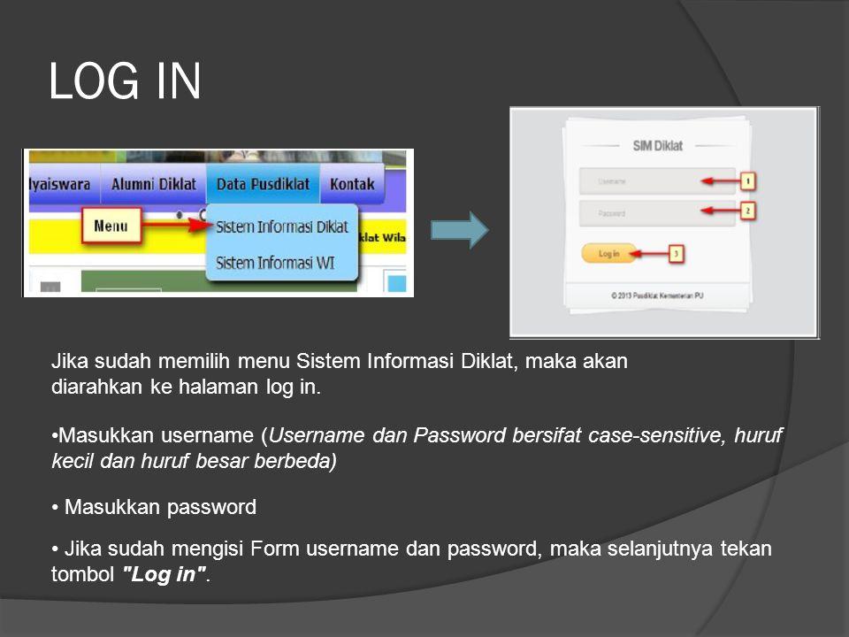 LOG IN Jika sudah memilih menu Sistem Informasi Diklat, maka akan diarahkan ke halaman log in.