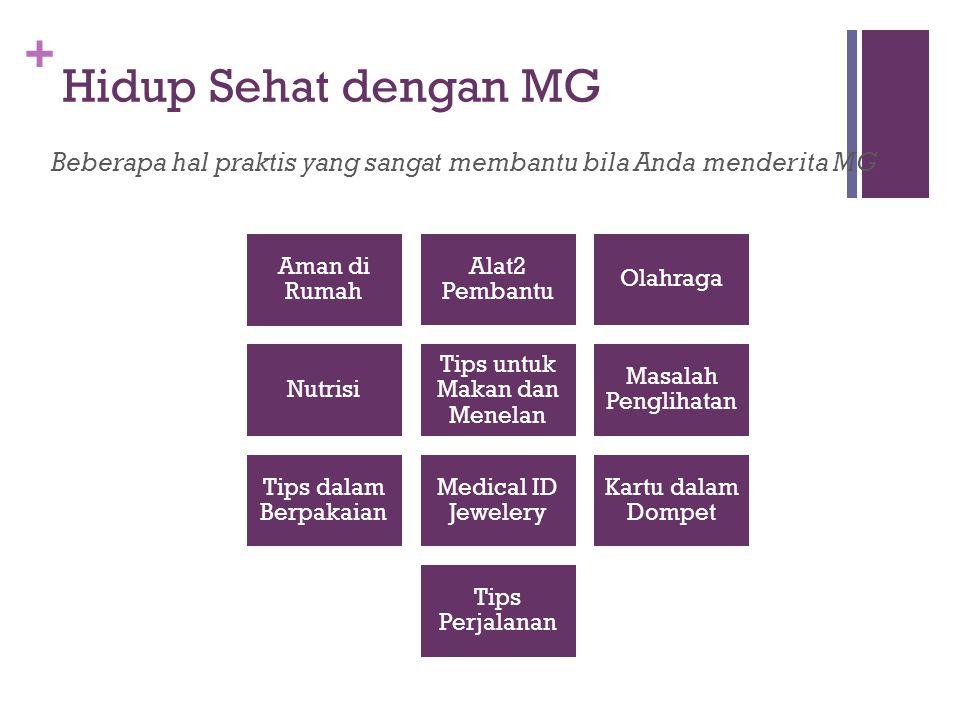 + Hidup Sehat dengan MG Beberapa hal praktis yang sangat membantu bila Anda menderita MG Aman di Rumah Alat2 Pembantu Olahraga Nutrisi Tips untuk Maka