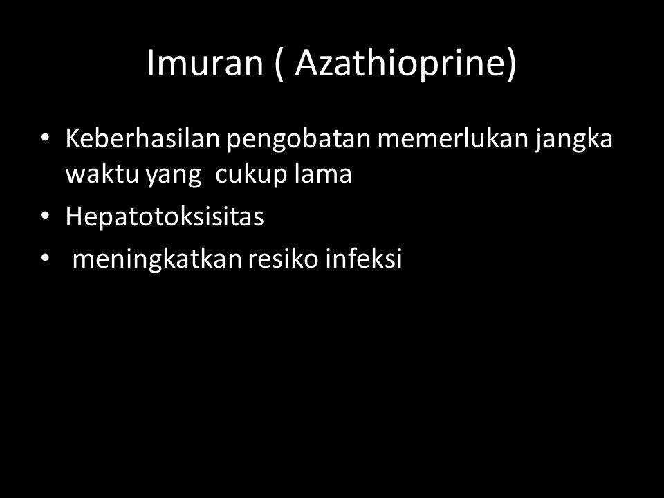 Imuran ( Azathioprine) Keberhasilan pengobatan memerlukan jangka waktu yang cukup lama Hepatotoksisitas meningkatkan resiko infeksi