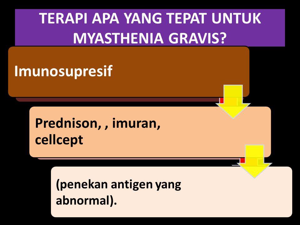 TERAPI APA YANG TEPAT UNTUK MYASTHENIA GRAVIS? Antikolinesterase (seperti neostigmine dan pyridostigmine). Obat ini berfungsi untuk menguatkan kembali