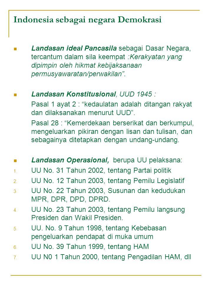 Indonesia sebagai negara Demokrasi Landasan ideal Pancasila sebagai Dasar Negara, tercantum dalam sila keempat :Kerakyatan yang dipimpin oleh hikmat kebijaksanaan permusyawaratan/perwakilan .