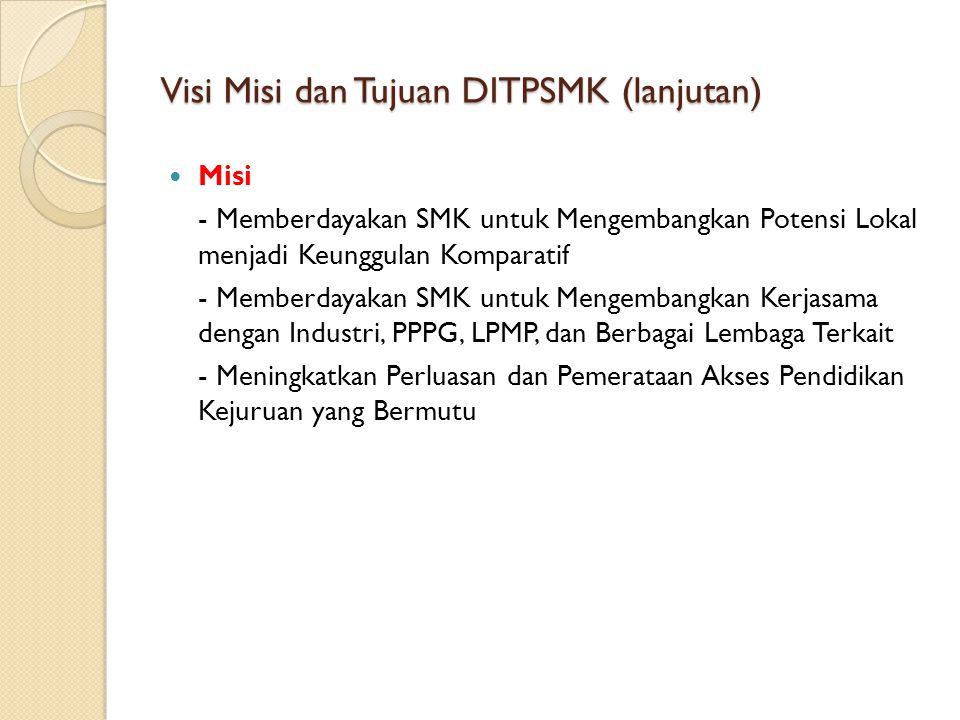 Visi Misi dan Tujuan DITPSMK (lanjutan) Misi - Memberdayakan SMK untuk Mengembangkan Potensi Lokal menjadi Keunggulan Komparatif - Memberdayakan SMK u