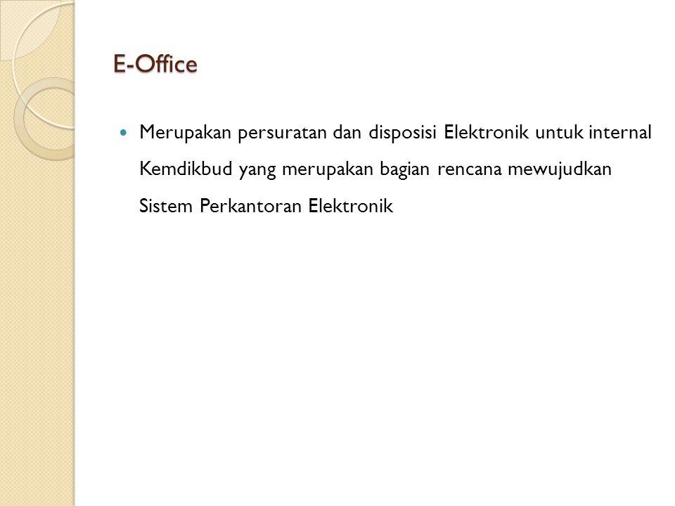 E-Office Merupakan persuratan dan disposisi Elektronik untuk internal Kemdikbud yang merupakan bagian rencana mewujudkan Sistem Perkantoran Elektronik