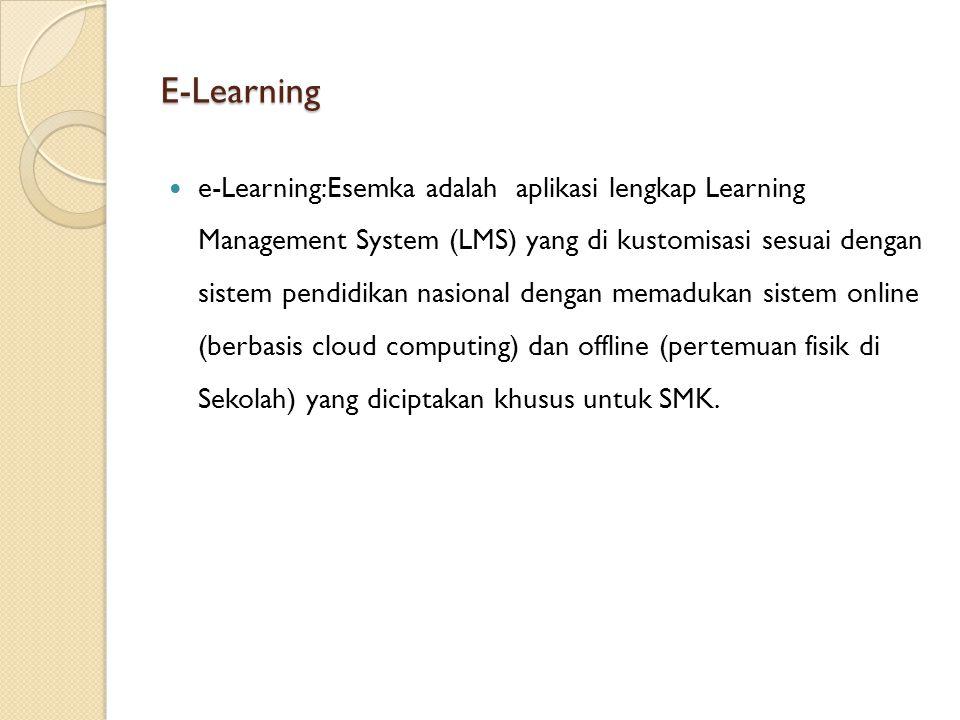 E-Learning e-Learning:Esemka adalah aplikasi lengkap Learning Management System (LMS) yang di kustomisasi sesuai dengan sistem pendidikan nasional den