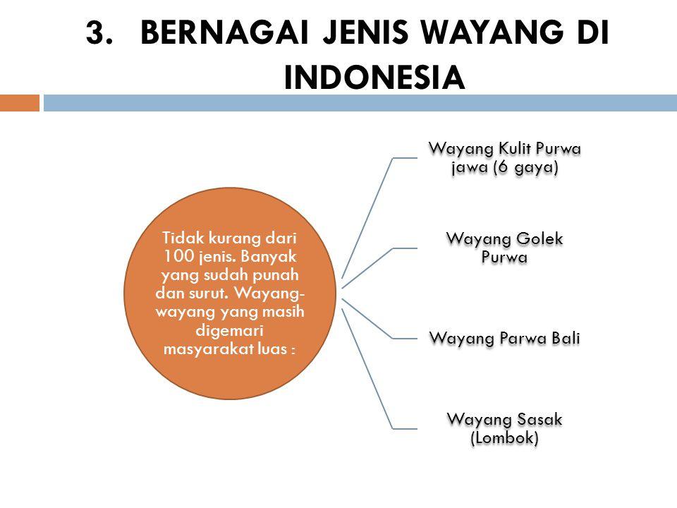 3.BERNAGAI JENIS WAYANG DI INDONESIA Tidak kurang dari 100 jenis. Banyak yang sudah punah dan surut. Wayang- wayang yang masih digemari masyarakat lua