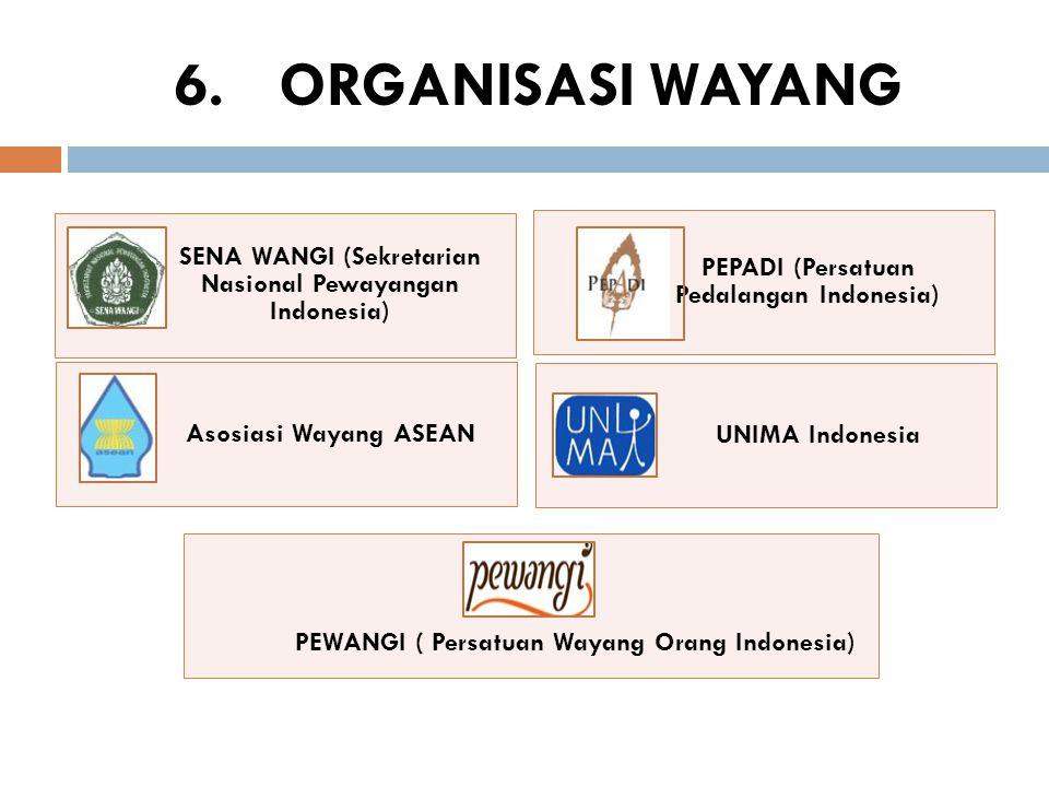 SENA WANGI (Sekretarian Nasional Pewayangan Indonesia) PEPADI (Persatuan Pedalangan Indonesia) Asosiasi Wayang ASEAN UNIMA Indonesia PEWANGI ( Persatu