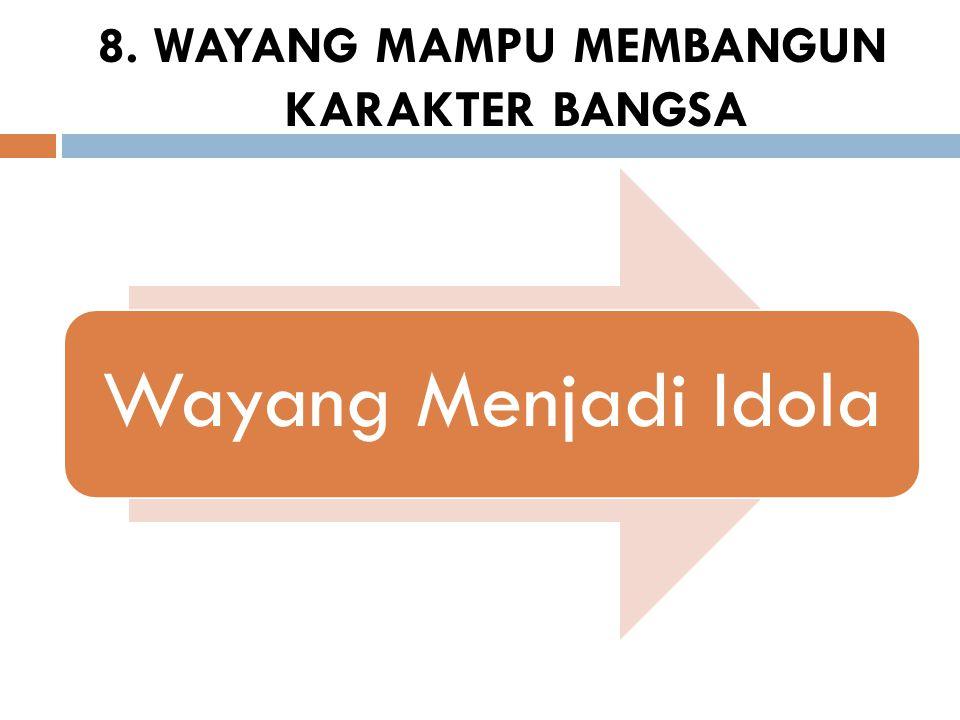 8. WAYANG MAMPU MEMBANGUN KARAKTER BANGSA Wayang Menjadi Idola