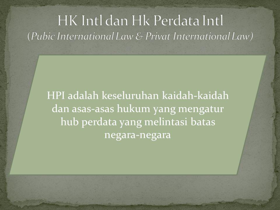 HPI adalah keseluruhan kaidah-kaidah dan asas-asas hukum yang mengatur hub perdata yang melintasi batas negara-negara
