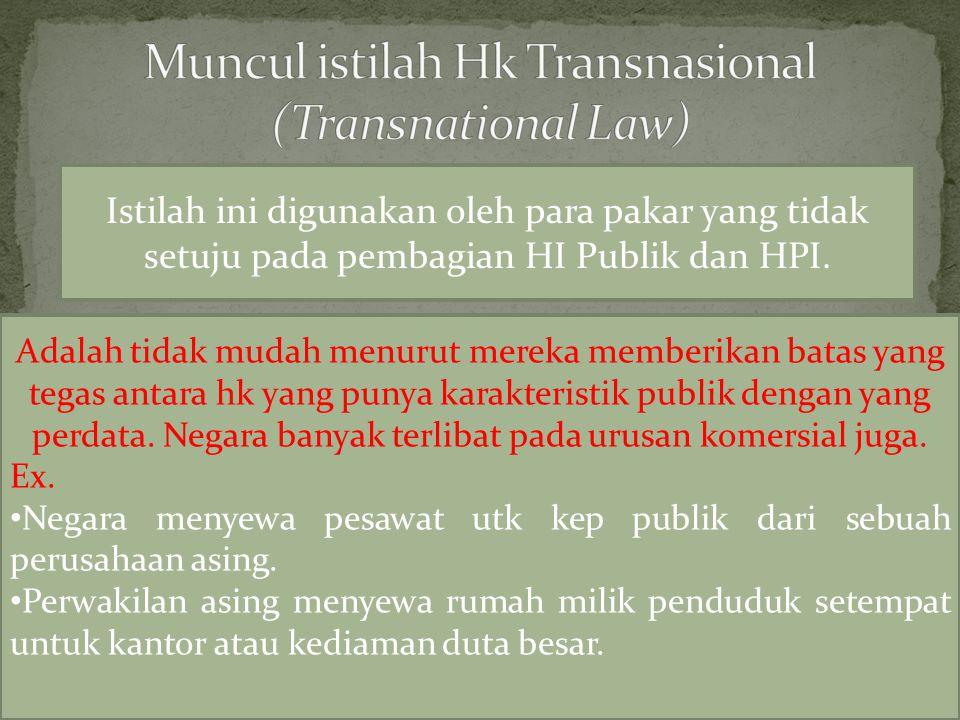 Istilah ini digunakan oleh para pakar yang tidak setuju pada pembagian HI Publik dan HPI.