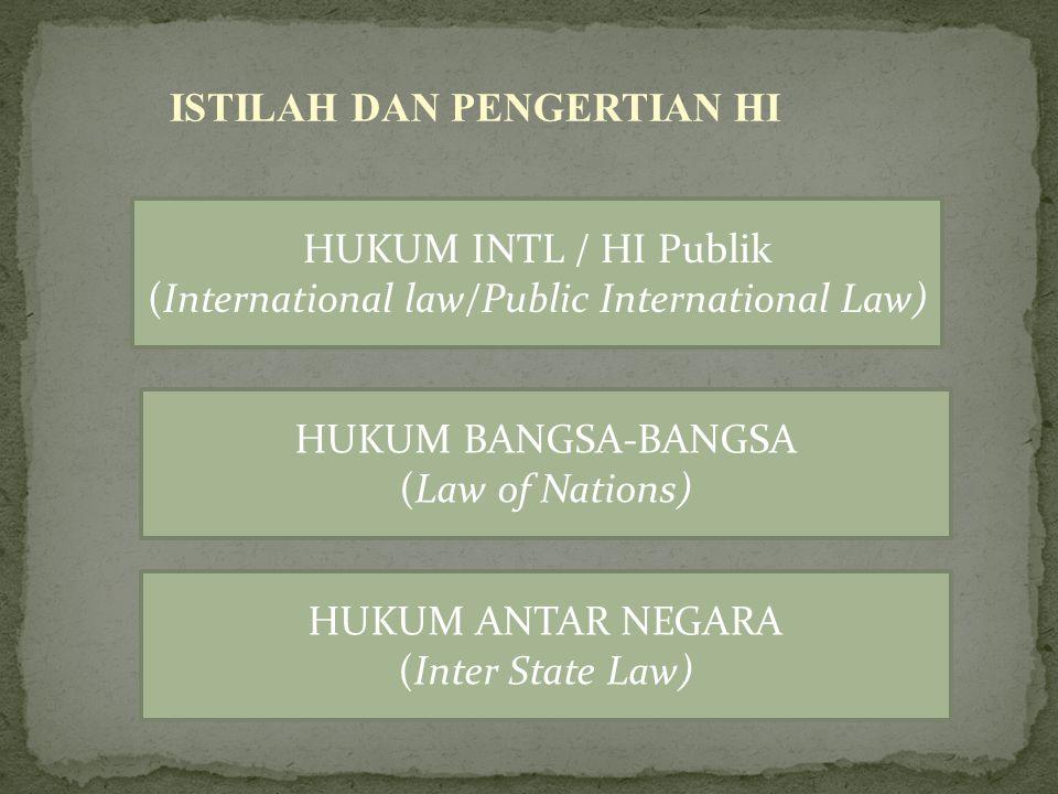 Istilah Hukum International (International Law) Pertama Kali dipakai oleh pakar hukum Inggris Jeremy Bentham pada Tahun 1780
