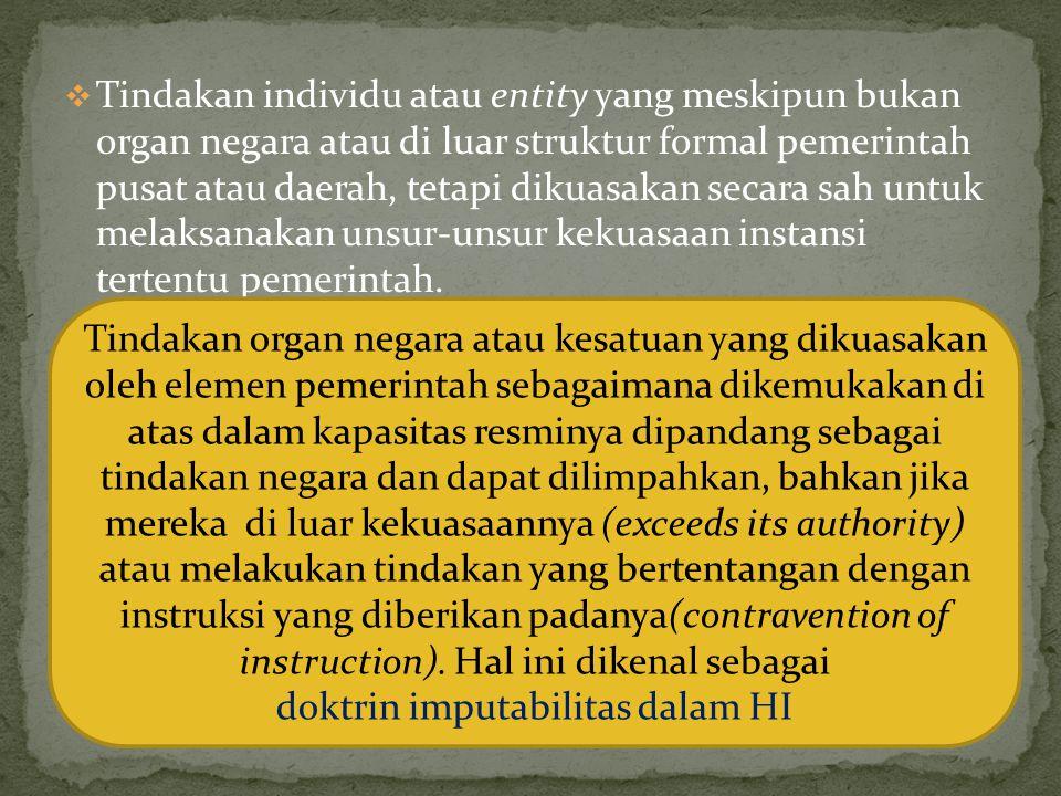  Tindakan individu atau entity yang meskipun bukan organ negara atau di luar struktur formal pemerintah pusat atau daerah, tetapi dikuasakan secara sah untuk melaksanakan unsur-unsur kekuasaan instansi tertentu pemerintah.