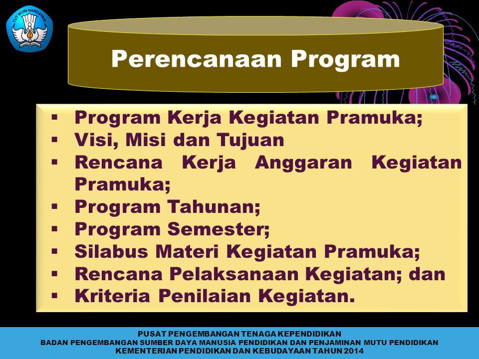Perencanaan Program  Program Kerja Kegiatan Pramuka;  Visi, Misi dan Tujuan  Rencana Kerja Anggaran Kegiatan Pramuka;  Program Tahunan;  Program