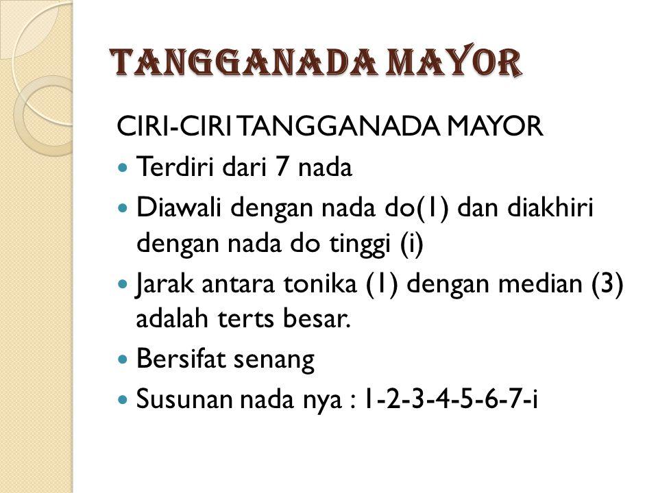 TANGGANADA MAYOR CIRI-CIRI TANGGANADA MAYOR Terdiri dari 7 nada Diawali dengan nada do(1) dan diakhiri dengan nada do tinggi (i) Jarak antara tonika (