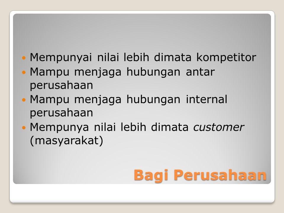 Bagi Perusahaan Mempunyai nilai lebih dimata kompetitor Mampu menjaga hubungan antar perusahaan Mampu menjaga hubungan internal perusahaan Mempunya nilai lebih dimata customer (masyarakat)