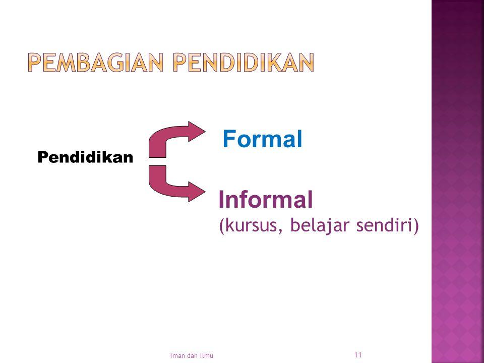 11 Pendidikan Formal Informal (kursus, belajar sendiri) Iman dan Ilmu