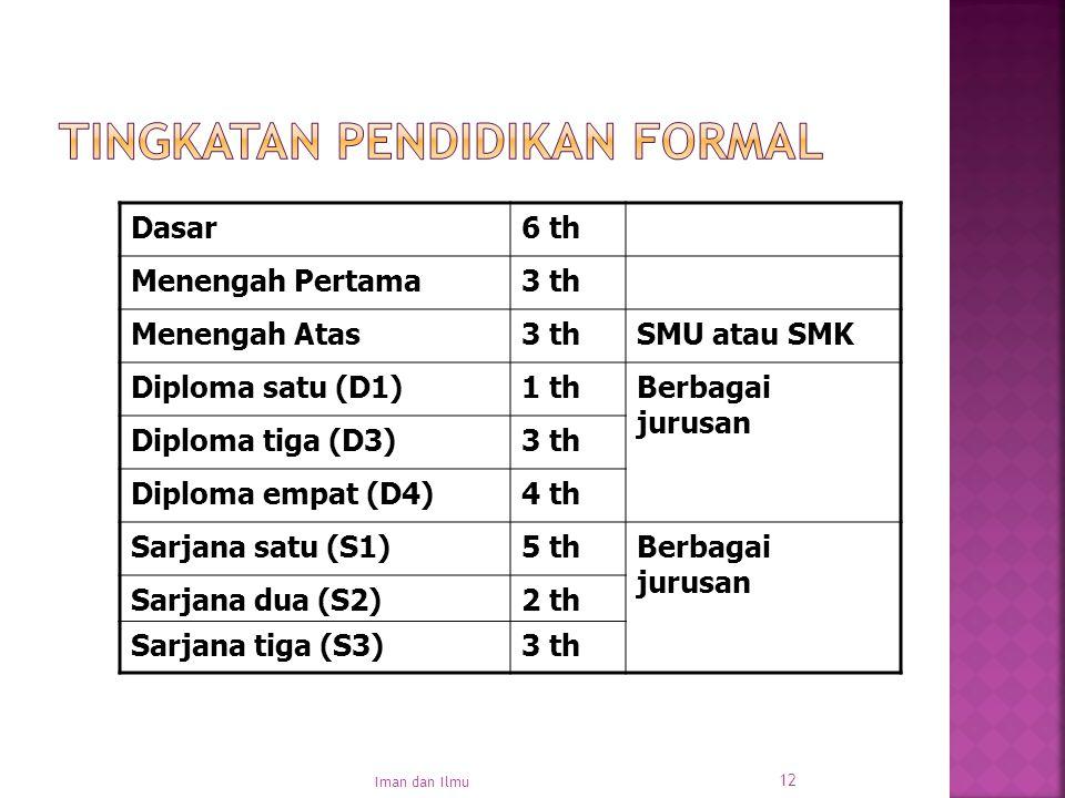 12 Dasar6 th Menengah Pertama3 th Menengah Atas3 thSMU atau SMK Diploma satu (D1)1 thBerbagai jurusan Diploma tiga (D3)3 th Diploma empat (D4)4 th Sar