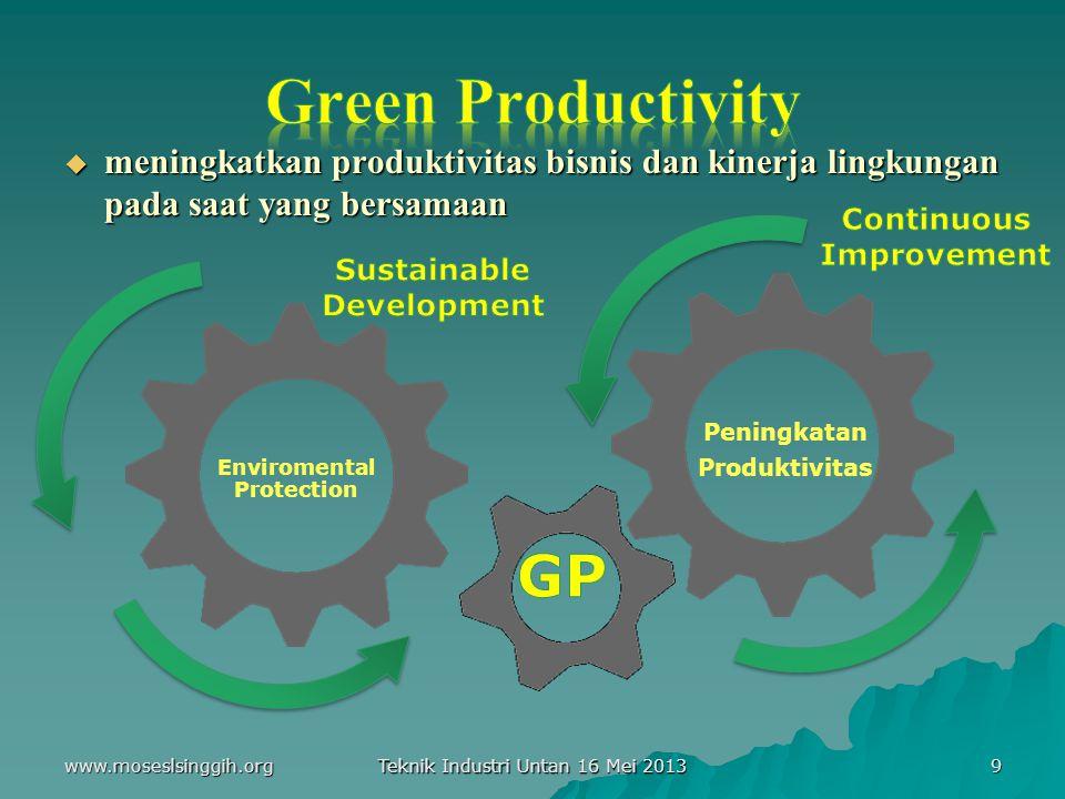  meningkatkan produktivitas bisnis dan kinerja lingkungan pada saat yang bersamaan Enviromental Protection Peningkatan Produktivitas 9 Teknik Industri Untan 16 Mei 2013 www.moseslsinggih.org