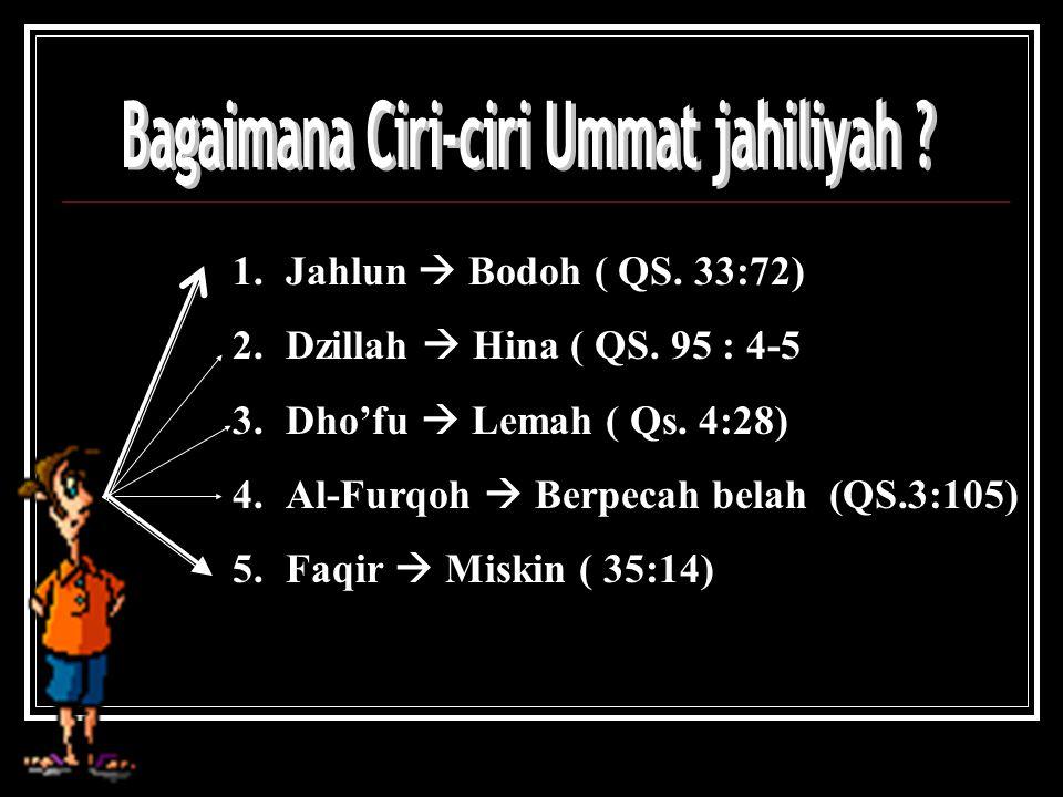 1.Jahlun  Bodoh ( QS.33:72) 2.Dzillah  Hina ( QS.