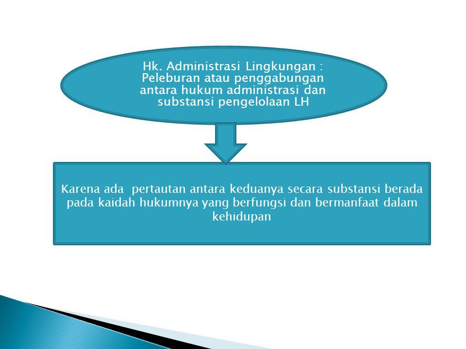 Hk. Administrasi Lingkungan : Peleburan atau penggabungan antara hukum administrasi dan substansi pengelolaan LH Karena ada pertautan antara keduanya