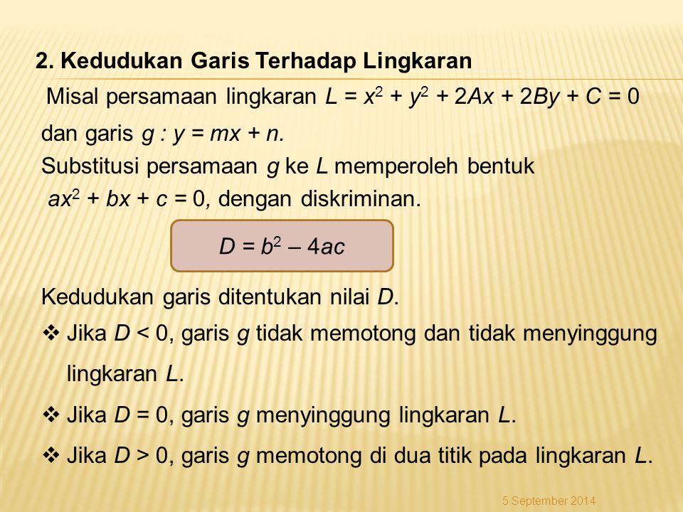 Misal persamaan lingkaran L = x 2 + y 2 + 2Ax + 2By + C = 0 dan garis g : y = mx + n. Substitusi persamaan g ke L memperoleh bentuk ax 2 + bx + c = 0,